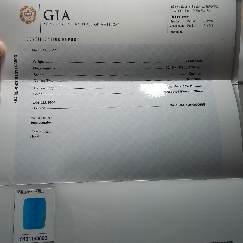 Batu Pirus Biru Turquoise sertifikat GIA